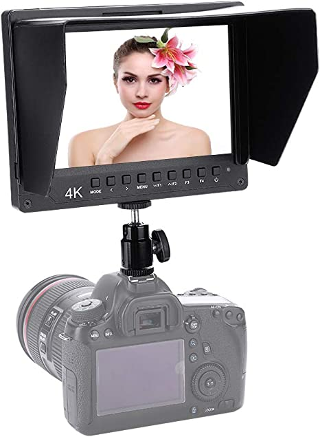 Camera Monitor,Portable 7 Inch IPS Screen 4K HD LED 1920x1200 1200:1,Freely 360/º//180/º Rotate USB Camcorder Monitor Support HDMI Output with Detachable Shade,Ball Head,for DSLR Camera