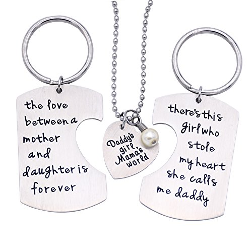O.RIYA Fathers Mothers Birthday Jewelry Necklace Gift, Mommy Daddy daughter stole heart set little girl kids love Mothers day fathers pendant necklace set of 3, Gift for Daughter,