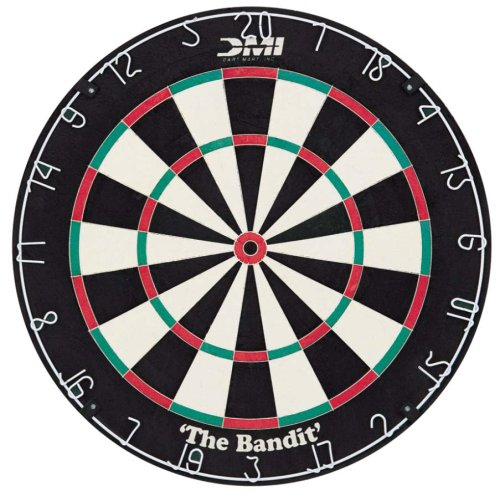 - DMI Sports Bandit Staple-Free Bristle Dartboard with Reduced Bounce-Outs, Steel Segment Dividers Embedded in Bristle for Strength and Durability - The Official World Cup Dartboard Since 1999