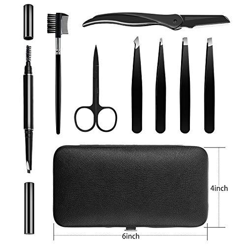 HOCOSY Eyebrow Kit, 8 in 1 Tweezers for Eyebrows, Professional Eyebrow Grooming Set include Stainless Steel Eyebrow Razor Eyebrow Brush Eyebrow Scissors Brown Eyebrow Pen with Travel Case