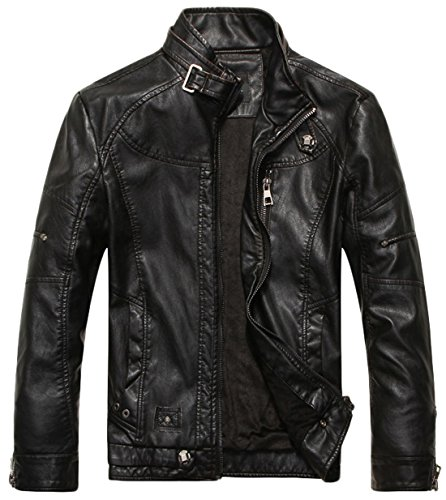 Chouyatou Men's Vintage Stand Collar Pu Leather Jacket (Large, Black)
