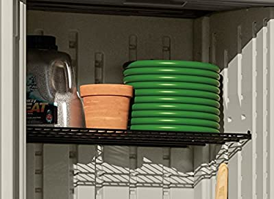 Suncast Storage Shelving for Sheds, Garage, Indoors, and Outdoors - One Shelf to Hold 30 lbs. of Garden Supplies, Tools, Toys, Outdoor Accessories, Compatible Sheds BMS1250 and BMS2000 - Black
