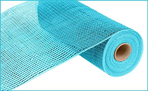 Deluxe Wide Foil Poly Deco Mesh, 10 Inches x 10 Yards (Turquoise, Turquoise Foil)