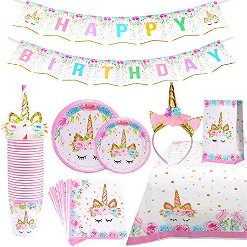 Unicorn Themed Birthday Party Plates Supplies