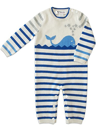 Gia John Cashmere New Born Baby Boy Striped Romper Long Sleeve Cashmere Blue 3-12M by Gia John Cashmere
