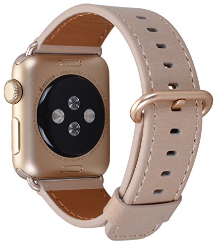 JSGJMY Apple Watch Band 38mm Women Ivory Vintage Genuine Leather Loop Replacement Iwatch Strap with gold Metal Clasp for Apple Watch Series 2/1 Gold (Ivory Band)