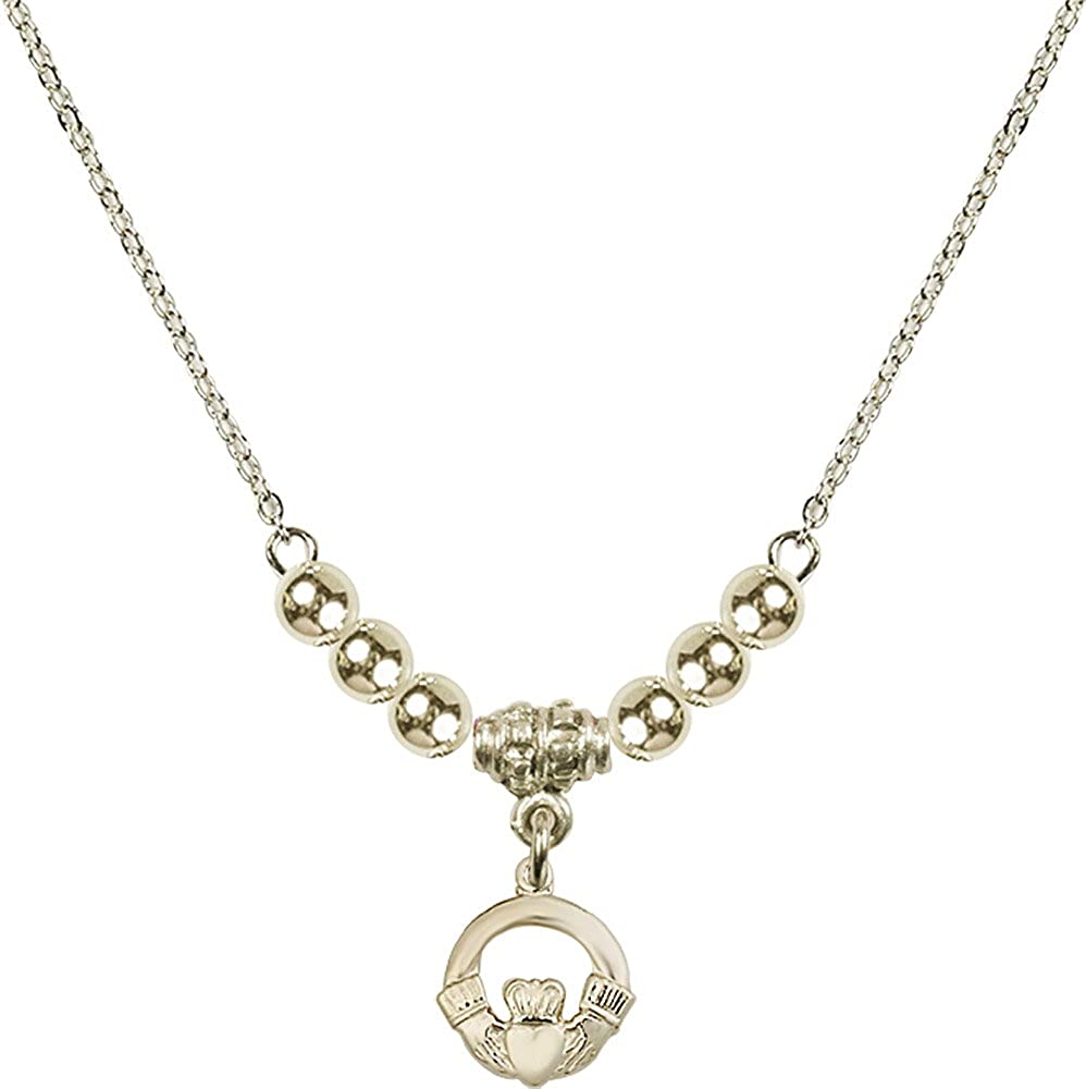 18-Inch Hamilton Gold Plated Necklace with 4mm Gold Filled Beads and Gold Filled Claddagh Charm.