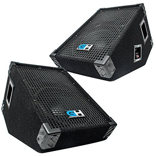 1400 Watt Pair of 10 Inch Passive Full Range PA Speakers Stage Wedge Monitors Home DJ Karaoke Church Portable Indoor Outdoor Pro Audio Live Sound Reinforcement