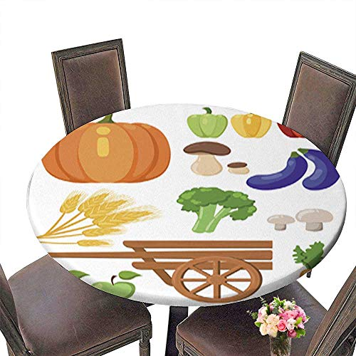 Round Tablecloth Waterproof Polyester Table,Harvest Festival Harvest Fruits and Vegetables Autumn Collection of Elements Tablecloth for Wedding/Party up to 31.5