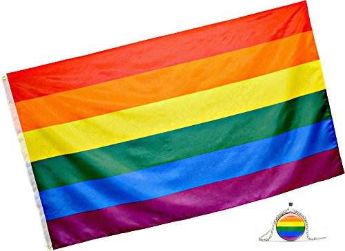Rainbow Flag (3x5 Feet) - 100% Super Polyester Material - With FREE Bonus - Large Gay Pride Flag With Brass Grommets - Perfect Banner For Hanging Indoor/Outdoor by Eugenys