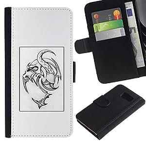 All Phone Most Case / Oferta Especial Cáscara Funda de cuero Monedero Cubierta de proteccion Caso / Wallet Case for Samsung Galaxy S6 // Tattoo Art Monster Poster Spooky