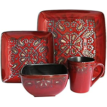 Superb Marquee 16 Piece Reactive Square Dinnerware Set, Red