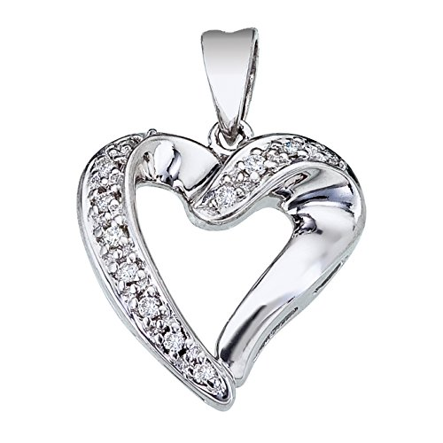 The perfect symbol of love a bright 14k white gold heart pendant with shimmering diamonds. ()
