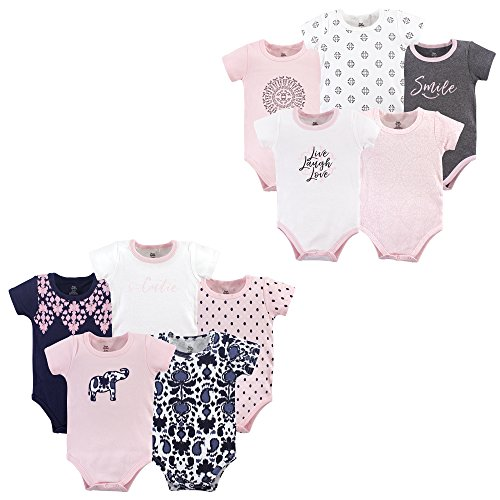 Yoga Sprout Unisex Baby Cotton Bodysuits, Elephant Scroll 10Pk Short Sleeve, 3-6 Months (6M)