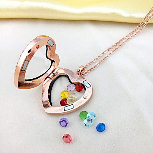 - Love Heart Birthstone Crystal Floating Lockets Living Memory Pendant Necklace