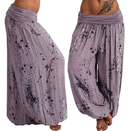 JOFOW Womens Bloomers Harem Pants Boho Dye Splash Painting Print Loose Casual Long Wide Leg Pajamas High Waist Yoga Trousers (S,Grayish Purple)