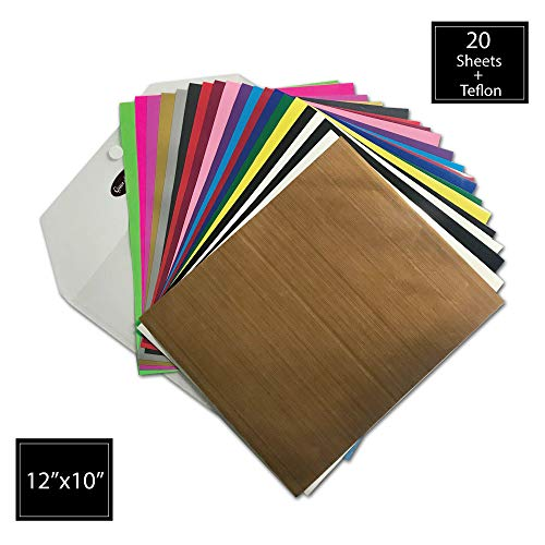 12' Pink 50 Sheets - HTV Heat Transfer Vinyl by Queen of Crafts| Get Crafty with 20 HTV Assorted Color Sheets 12''X10''| Teflon Sheet Included| Iron On T-Shirts, Bags, Shoes and More| Compatible with Cricut, Silhouette