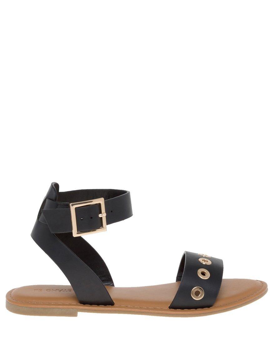LE CHÂTEAU Women's Ankle Strap Flat Sandal,8,Black