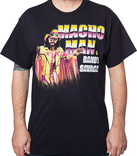 World Wrestling Entertainment WWE Men's Black Macho Man Randy Savage T-Shirt Black (Macho Man Randy Savage Outfit)
