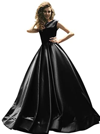 Harsuccting Cap Sleeve Lace Up Long Ball Gown Satin Evening Prom Dress Black 2