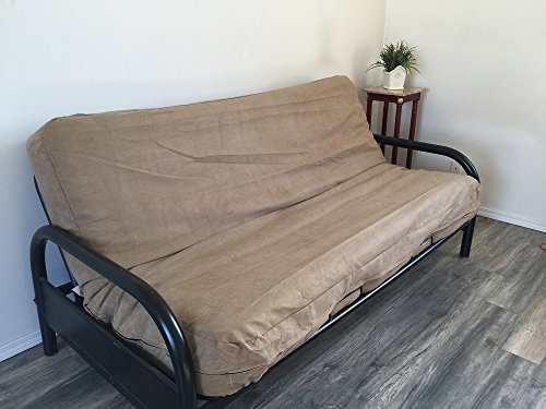 OctoRose Full Size Bonded Classic Soft Micro Suede Futon Covers, Mattress Protector (Peat) - Futon Cover Soft Suede