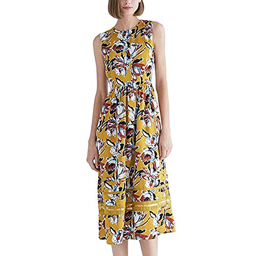 CIZITZZ Bodycon Dresses for Women Casual A-line Tank Sleeveless Business Plain Floral Print Sundresses Casual Slim Fit,Orange,XL
