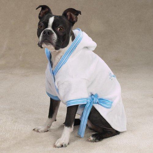 Zack and Zoey Royalty Dog Bathrobes Blue Medium, My Pet Supplies