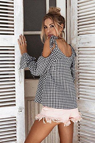 T Noir shirt Sexy Automne paule Longues Chemise Manches Tops Nue Carreaux Femme Bowknot t Minetom Blouse TUgHwg