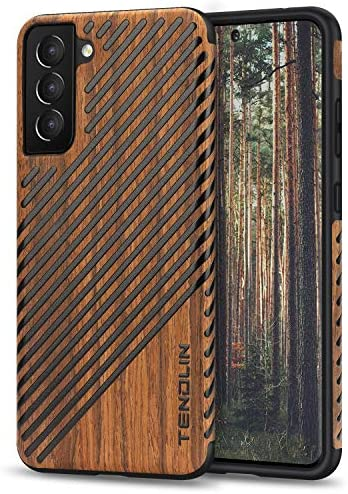 TENDLIN Compatible with Smasung Galaxy S21 Case Wood Grain and Leather Outside Design TPU Hybrid Case (Wood & Leather)