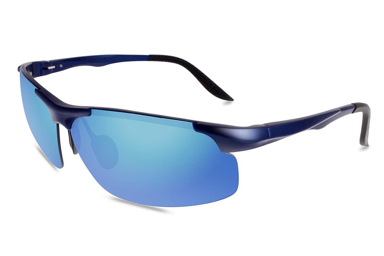 fawova Gafas Running Hombre con Aluminio Ultraligero, Gafas Sol Deportivas Polarizadas con Espejo Azul para Conducir Ciclismo, UV400, Cat.3 70mm