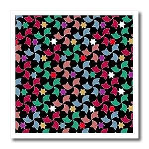 ht_56719_1 InspirationzStore Spanish Patterns - Colorful Spanish Windmills and Stars Geometric Arabic Art Mosaic Pattern on Stylish Black - Iron on Heat Transfers - 8x8 Iron on Heat Transfer for White Material