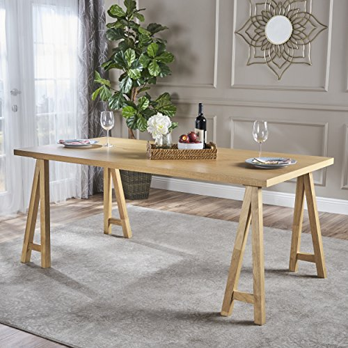 Sabrina Farmhouse Wood Finish Dining Table (Natural Oak) - Oak Finish Farmhouse