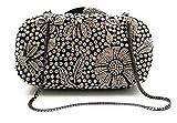 Crystal Designer Clutch Elegant Evening Handbag, Fancy Jeweled and Sparkly! (Black and White Floral)