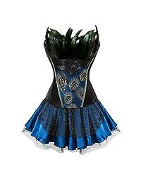 Kranchungel Women's Peacock Corset Top Overbust Bustier with Skirt Fancy Dress