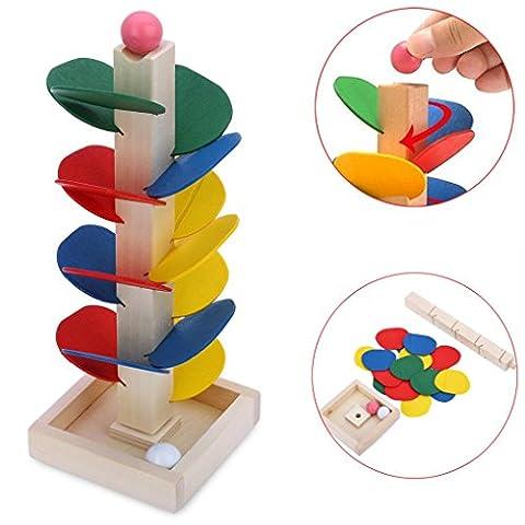 Vibola Montessori Educational Toy Blocks Wooden Tree Marble Ball Run Track Game Baby Kids Children Intelligence Wooden Baby (Montessori One Year Old)