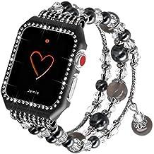 Falandi Apple Watch Band 38mm, Glittering Diamond Metal Case with Handmade Elastic Stretch Bracelet Fashion Women Girls Rhinestone Replacement Strap for iWatch Series 3 / 2 / 1