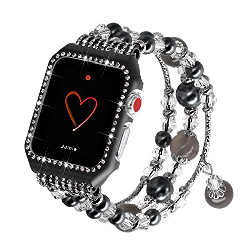 Falandi Apple Watch Band 42mm, Glittering Diamond Metal Black Case with Handmade Elastic Stretch Bracelet Fashion Women Girls Rhinestone Replacement Strap for iWatch Series 3/2 / 1 (M, Black-42mm)