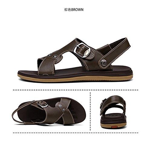 Sommer neue Freizeit Strand Sandalen Männer Sandalen Zwei Arten von Verschleiß Methode Männer Schuhe Groß, Chaki, UK = 9, EU = 43