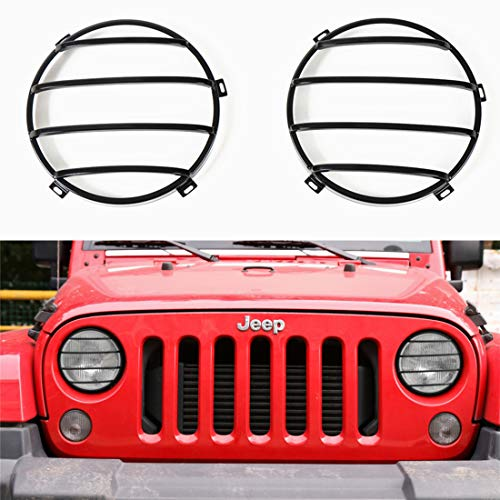 YOCTM Car Styling Headlight Cover Guards Protector Stainless Steel Jeep Wrangler JK JKU Head Lamp 2007-2017 Parts Accessories (Black)