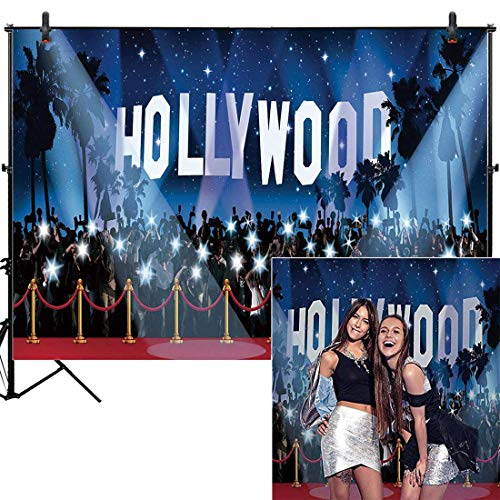 Hollywood Themed Backdrop (Allenjoy 7x5ft Photography Hollywood Backdrop Sweet 16 Birthday Party Supplies Awards Nights Movie Ceremony Themed Photo Booth Background Decorations Graduation Proom Adults Dance Selfie)