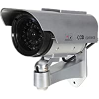 Etopars Solar Power Silver Fake Dummy Security CCTV Camera Waterproof IR LED Outdoor Indoor Surveillance