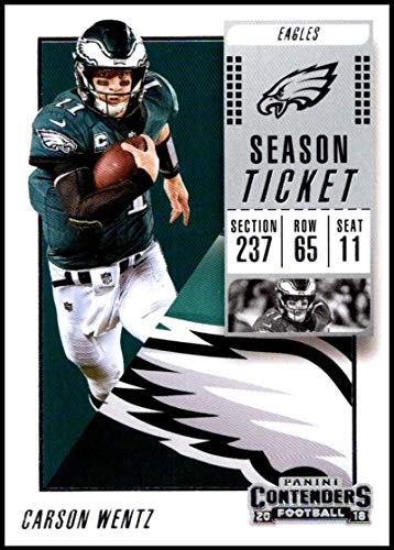 (2018 Contenders NFL Season Ticket (Base) #20 Carson Wentz Philadelphia Eagles Official Football Trading Card made by Panini )