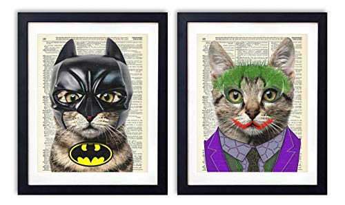 Batman Cat and The Joker Cat, 2 Piece Set, Batman Justice League Superhero Kids Bedroom Wall Decor, Vintage Wall Art Upcycled Dictionary Art Print Poster For Kids Room Decor 8x10 inches, Unframed ()
