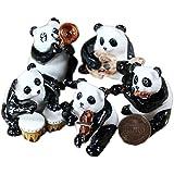 "5 Panda Bear Musical Band Set Ceramic Pottery Miniature Animal Figurine (2"")"