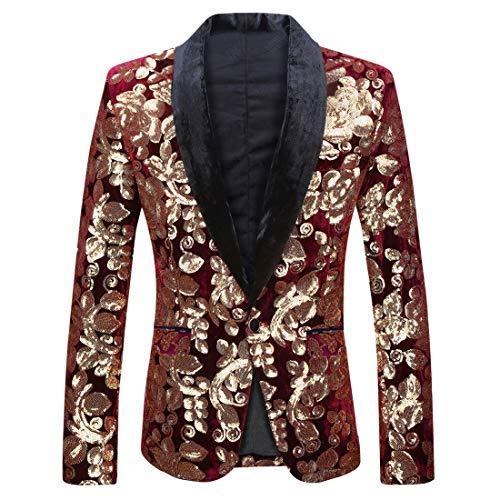 PYJTRL Men Fashion Velvet Sequins Floral Pattern Suit Jacket Blazer (Wine red 01, S/38R)