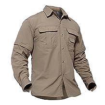 TACVASEN Men's Quick Dry UV Protection Zipper Convertible Long Sleeve Shirt