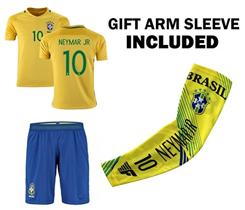 JerzeHero Brazil Neymar Jr #10 Youth 3 in 1 Soccer Gift Set ✓ Soccer Jersey ✓ Shorts ✓ Compression Arm Sleeve ✓ Home or Away ✓ Short Sleeve or Long Sleeve (YS 6-8 yrs, Home Short Sleeve) (3 In 1 Soccer)