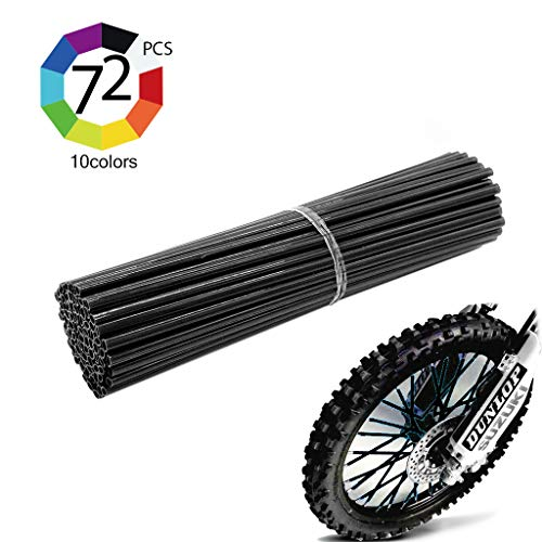 Outmoment Colorful Motocross Spoke Skins, 72pcs 24cm Universal Motorcycle Dirt Bike Spoke Covers for 8