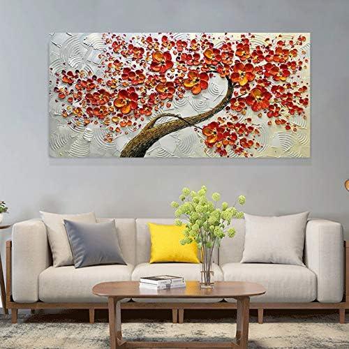 Afassw Rode Bloem Hand Geschilderd Spatel Olieschilderij Ter Decoratie Woonkamer Muur Schilderij Modern Canvas Schilderij 130