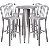Brimmes 5-pcs Table Set Round 24'' Silver w/4 Vertical Slat Back Stools